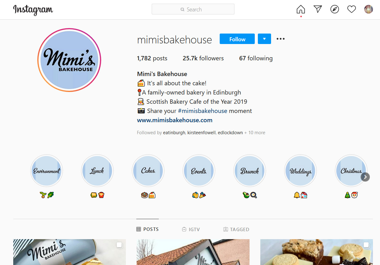 Mimi's Bakehouse Instagram page