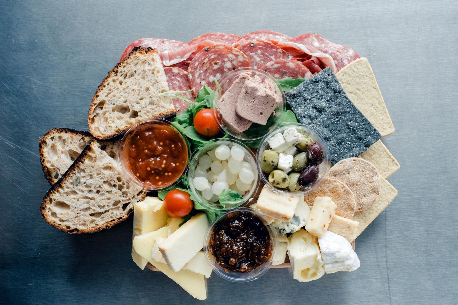 SprEHd platter with local bread, meat, cheese, chutney