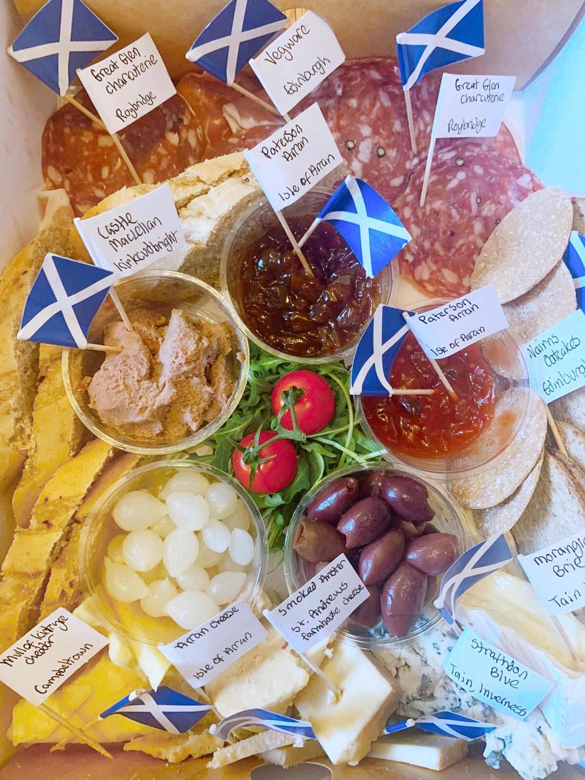 Scottish meat and cheese platter from SprEHd with tiny Scotland flags