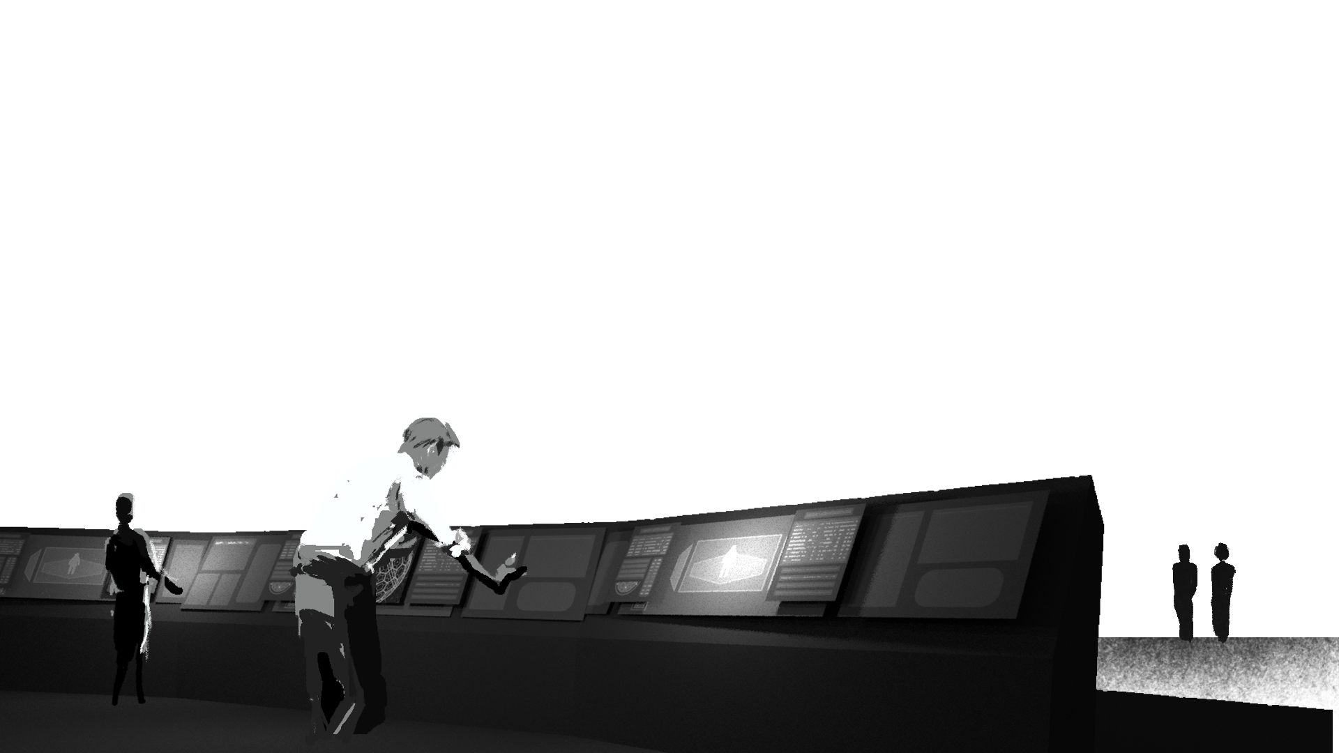 Monochrome image of man hunched over desk in mission control setting