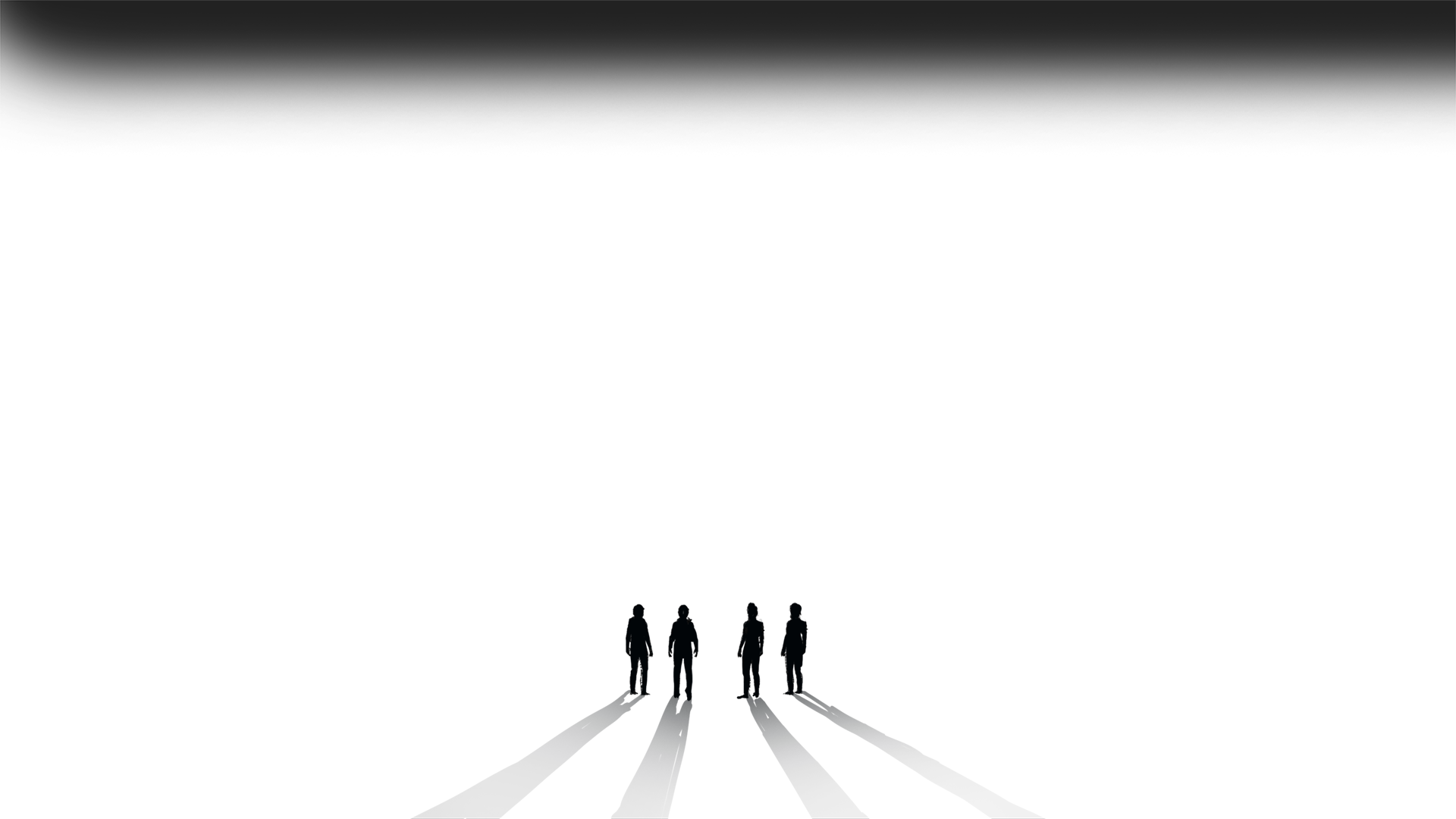Four silhouette figures with shadows stretched walk toward light source