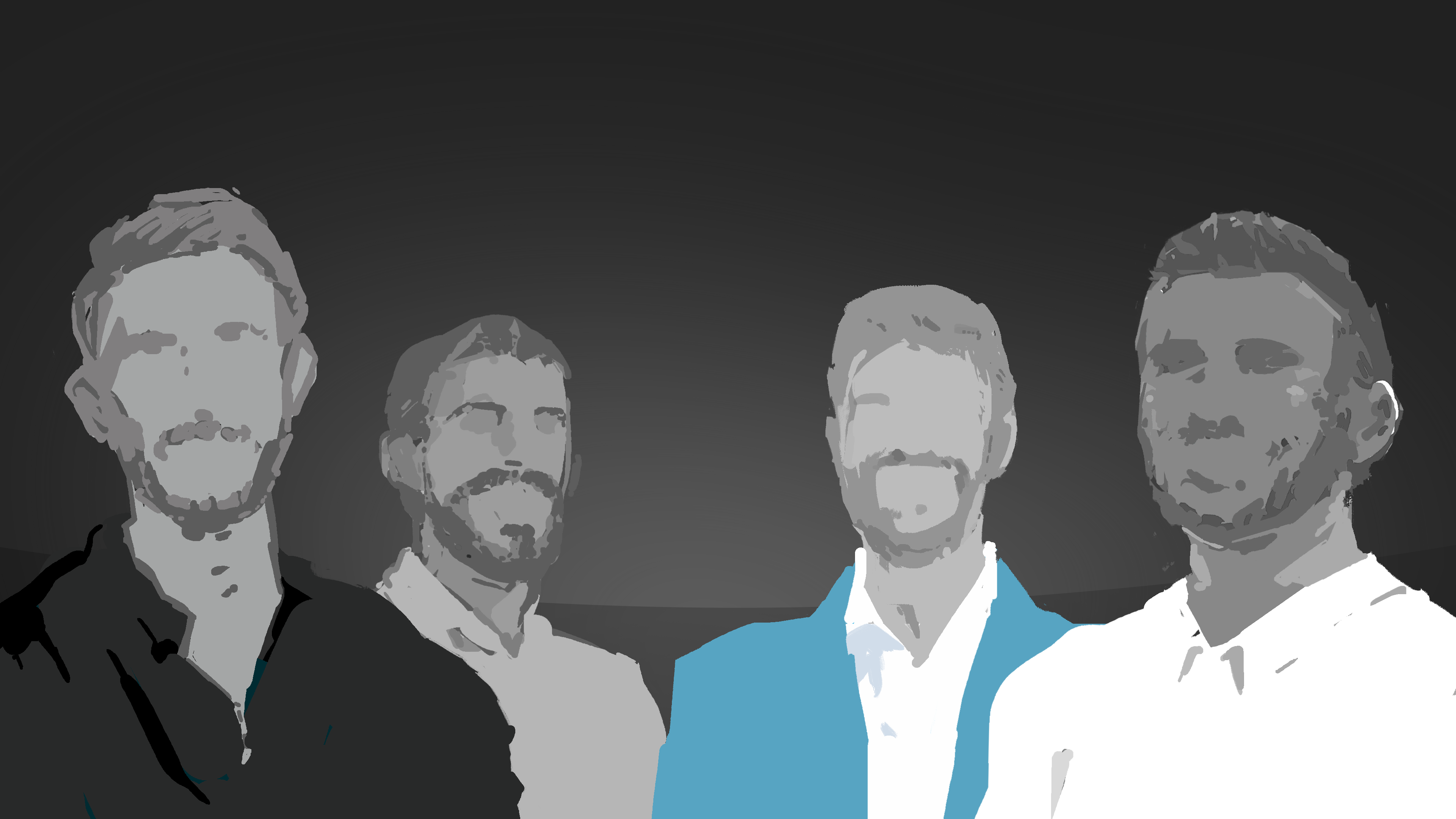 Textured silhouette image of four co-founders in grey and blue tones