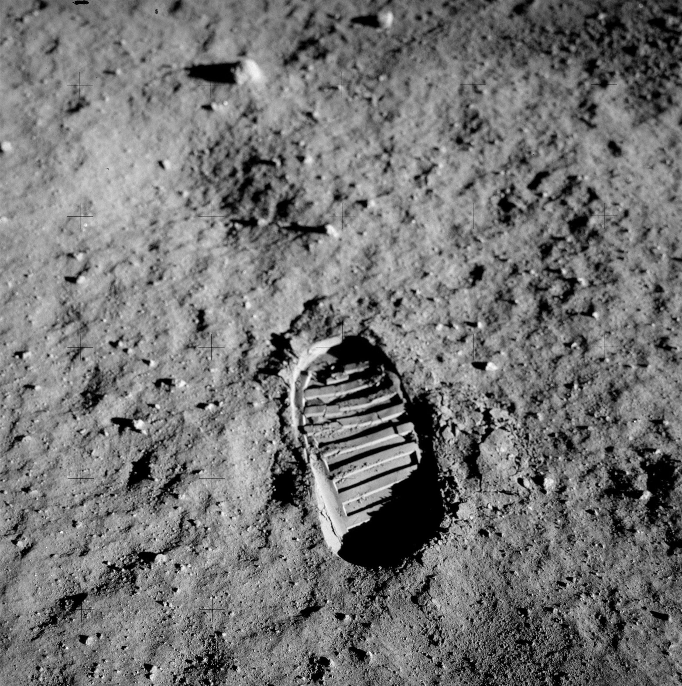 Apollo 11 Mission Boot print on the moon.
