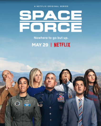six members of space force crew looking to the blue sky