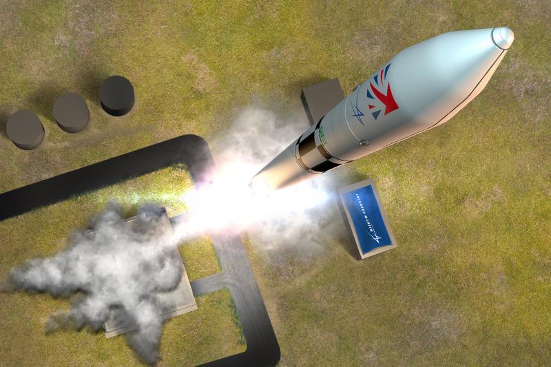 Artists interpretation of the Lockheed Martin RS1 rocket launching