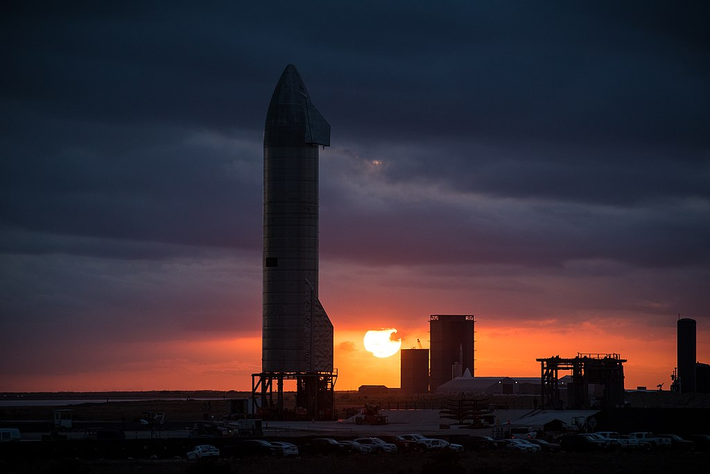 SpaceX SN9 Rocket photographed in-front of a sunset
