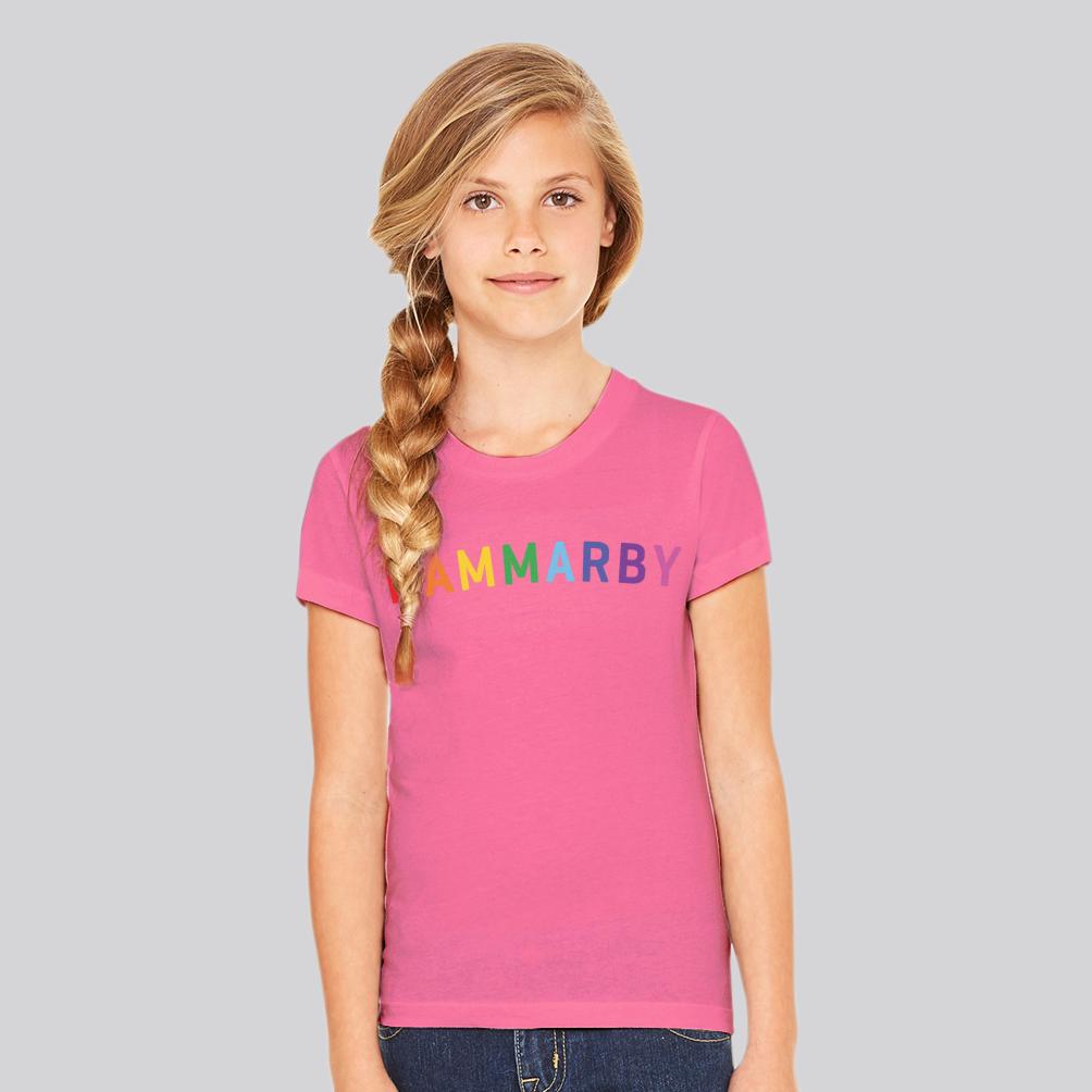"""Rosa T-shirt med regnbågstryck """"HAMMARBY"""""""