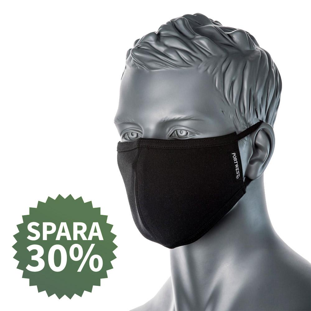 Munskydd i tyg – antimikrobisk ansiktsmask 25-pack, svarta