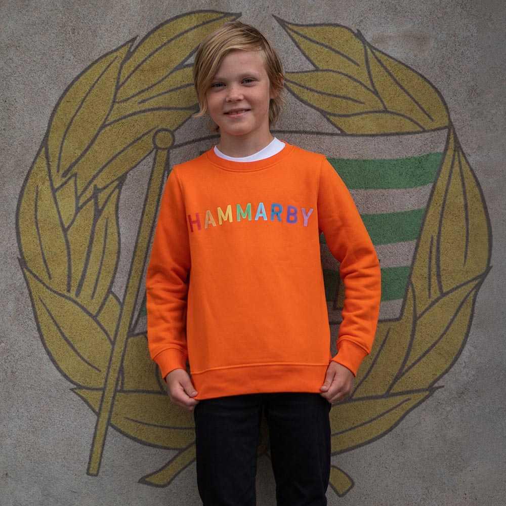 """Orange Sweatshirt med regnbågstryck """"HAMMARBY"""""""