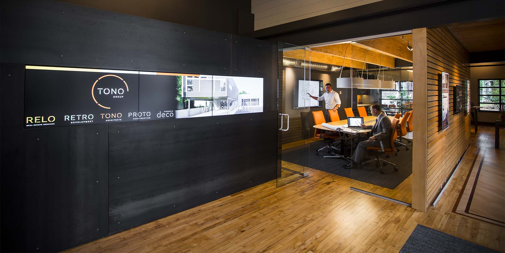 TONO offices featuring large stylish integrated video wall