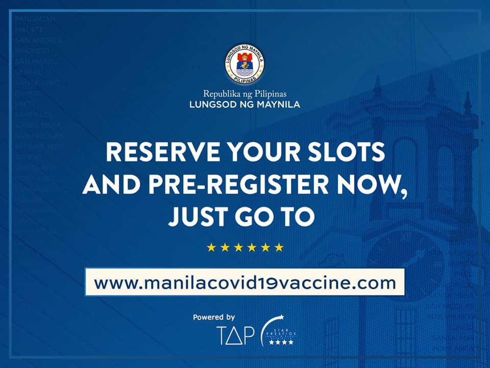 Manila launches pre-registration website for COVID-19 vaccine