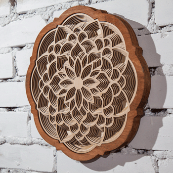 Mandala wall art from stacked layers