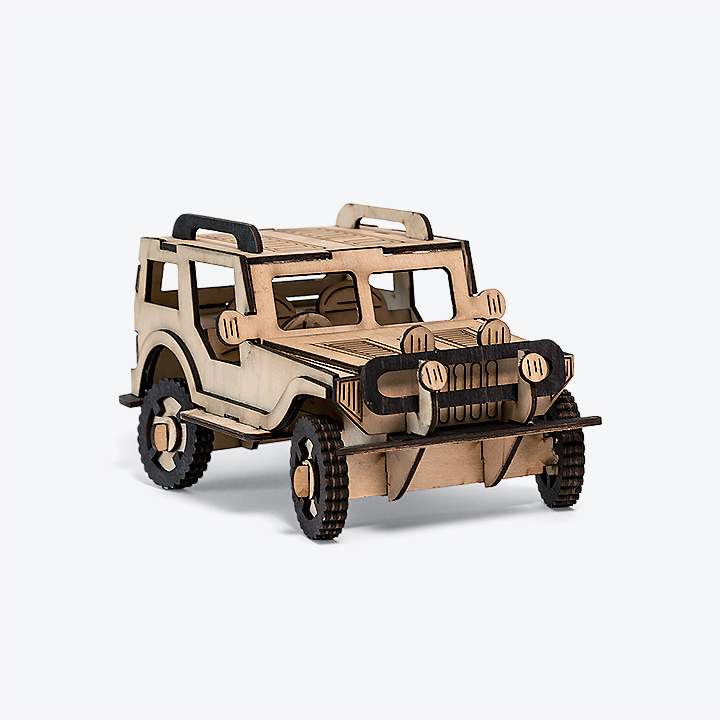 Jeep model from interlocking cutouts