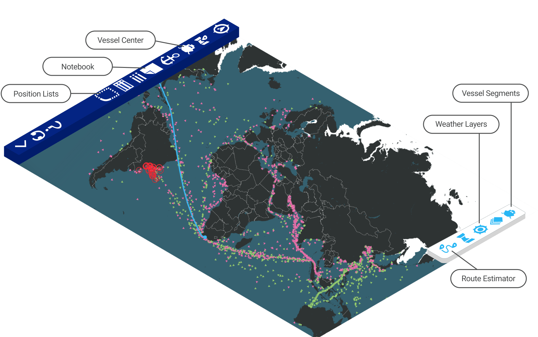 Illustration of the Maritime Optima app with vessel segments, route estimator and position lists in the map.