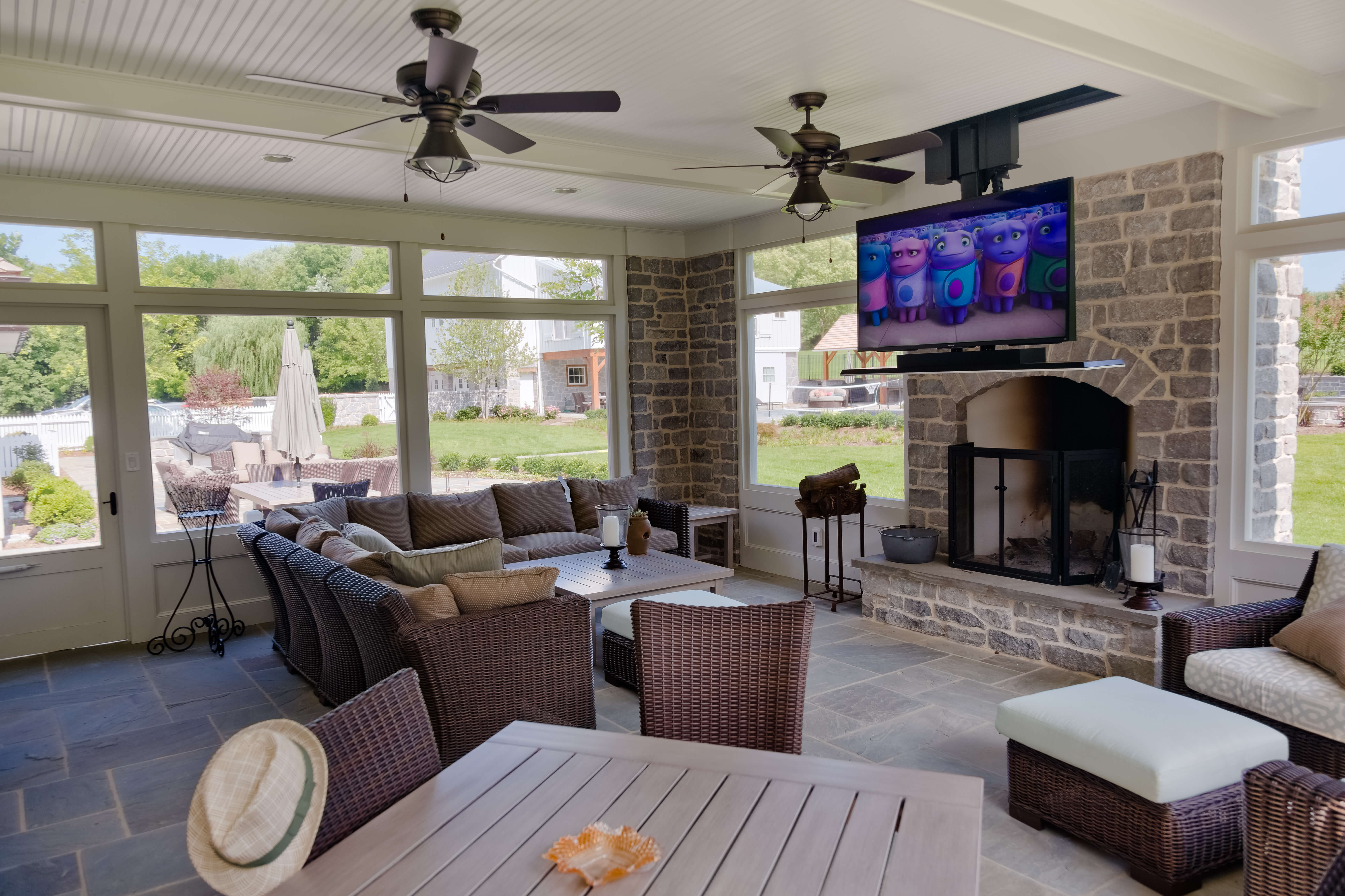 Family room with TV and speakers