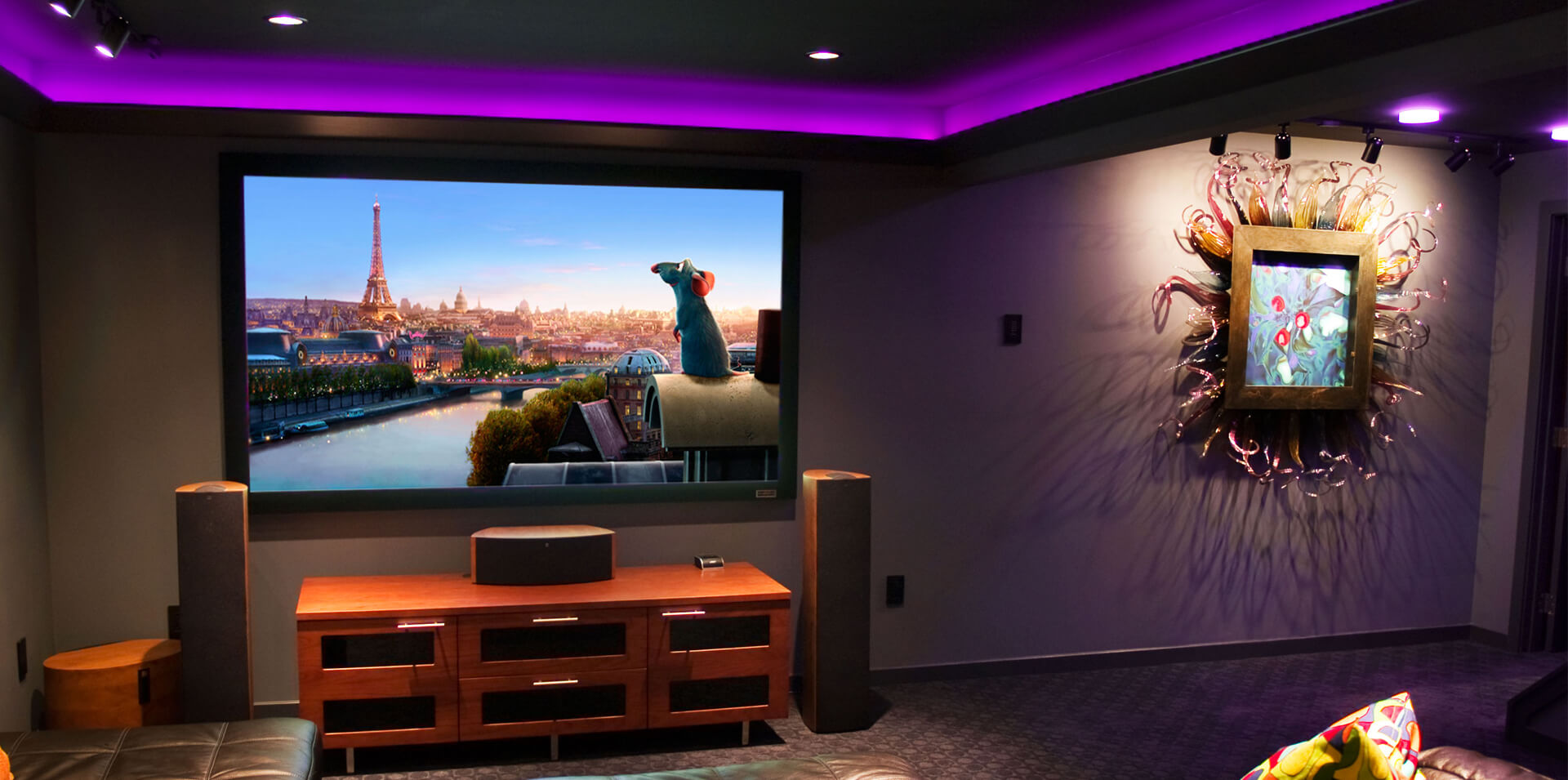 home theatre with LED lighting