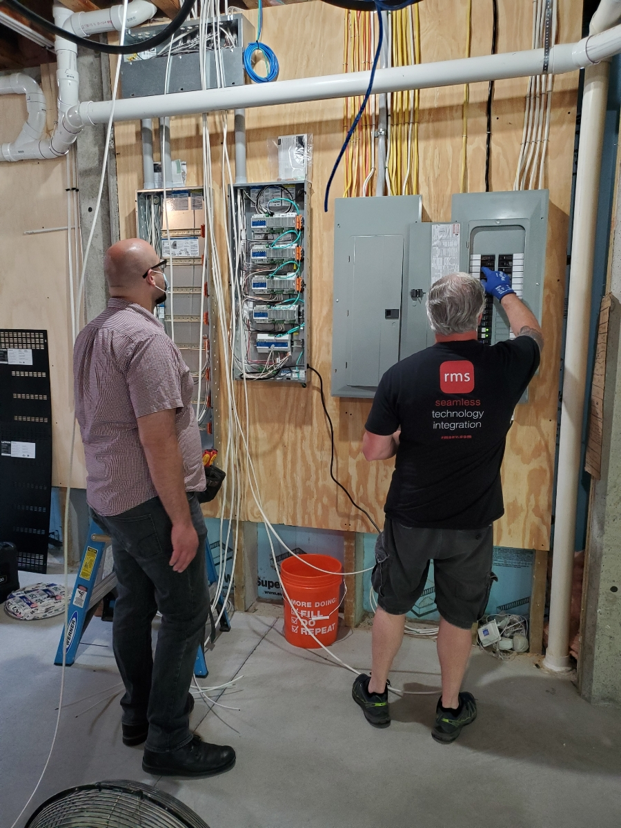 Electricians working hard