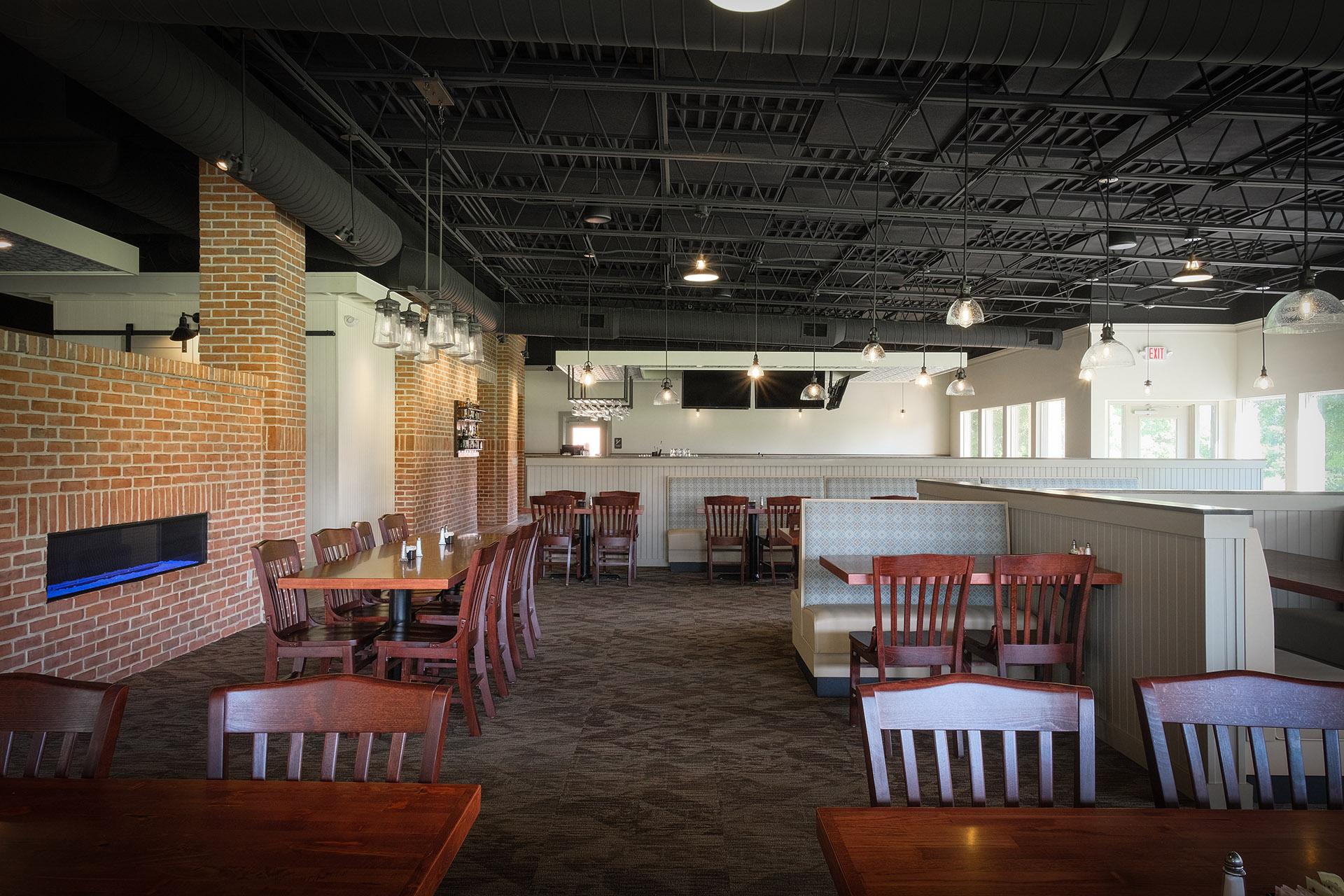 Blue collar dining room