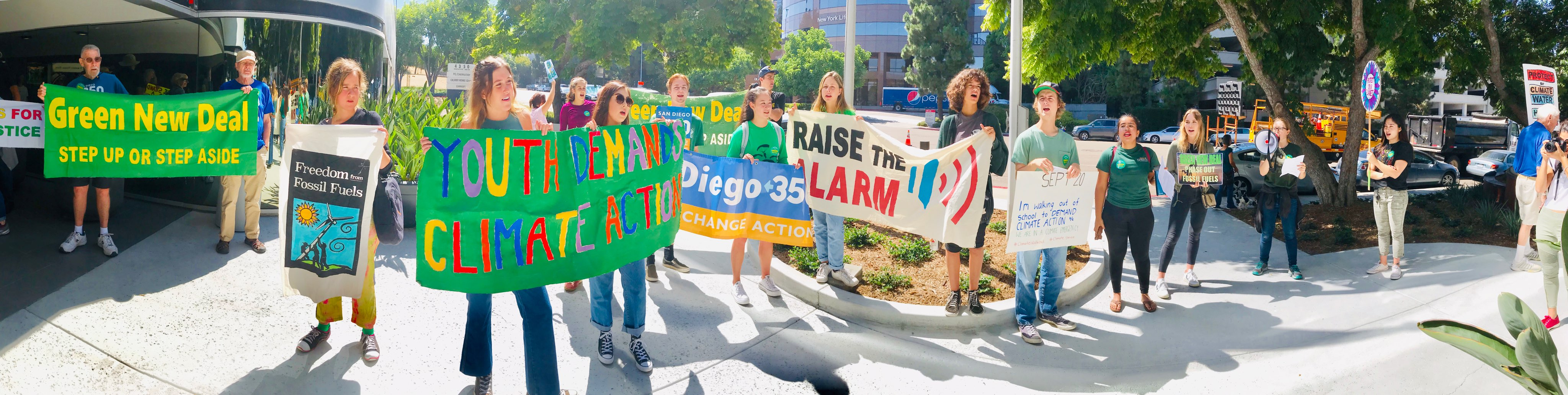 "In Sept. 2019, youth across the country took action to bring attention to the climate crisis. These SanDiego350 youth climate activists planned a ""raise the alarm"" event at Rep. Scott Peters' office."