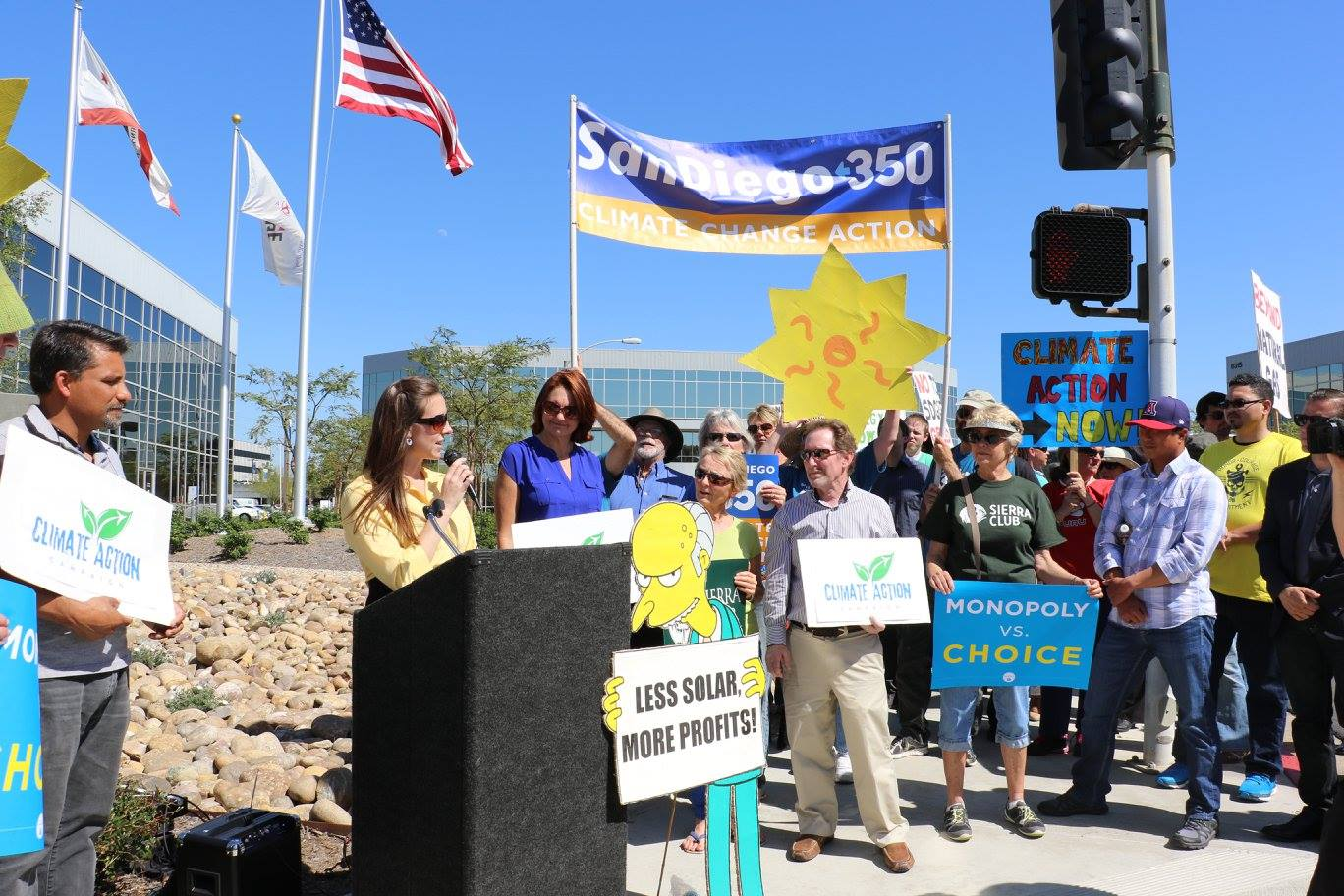Tara Hammond speaking at a protest at Sempra Energy, which she helped organize, to protect rooftop solar from San Diego Gas & Electric's egregious proposal to hurt clean energy.