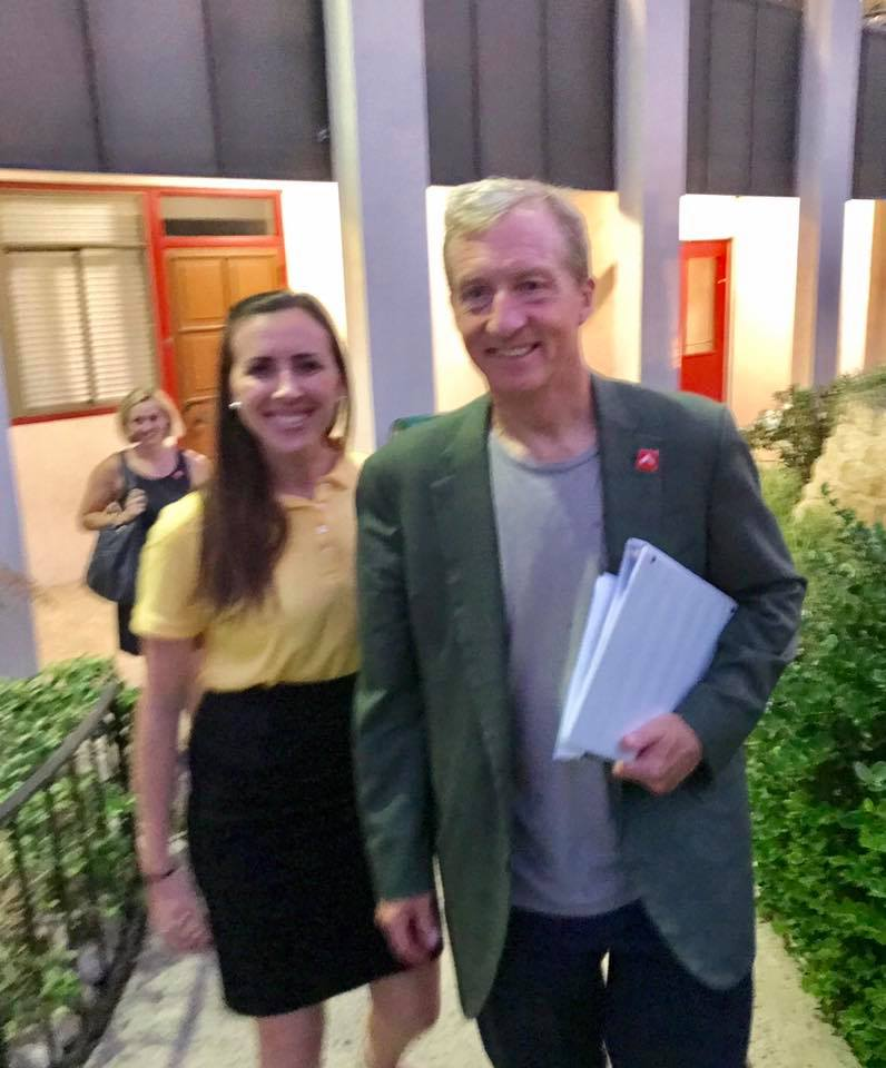 Tara Hammond with climate advocate and former presidential candidate, Tom Steyer after a SanDiego350 event in San Diego.