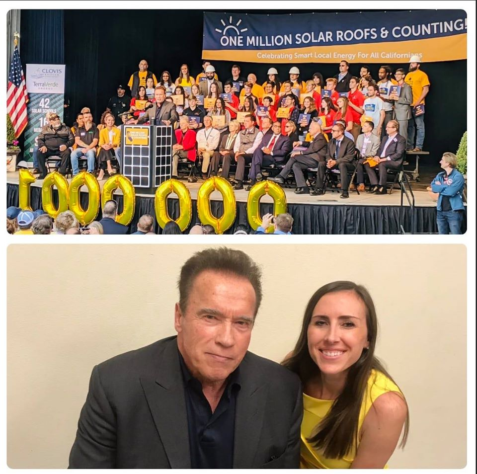 In December 2019, California celebrated 1,000,000 rooftop solar installations. Speakers included former Governor Arnold Schwartzenegger and former Governor Jerry Brown.