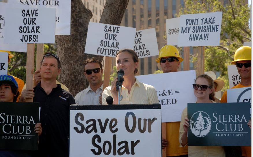 Tara Hammond speaking at a rally she organized to help protect solar, which was under attack by San Diego Gas & Electric.