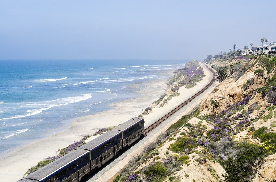 Picture of passenger train along coastline