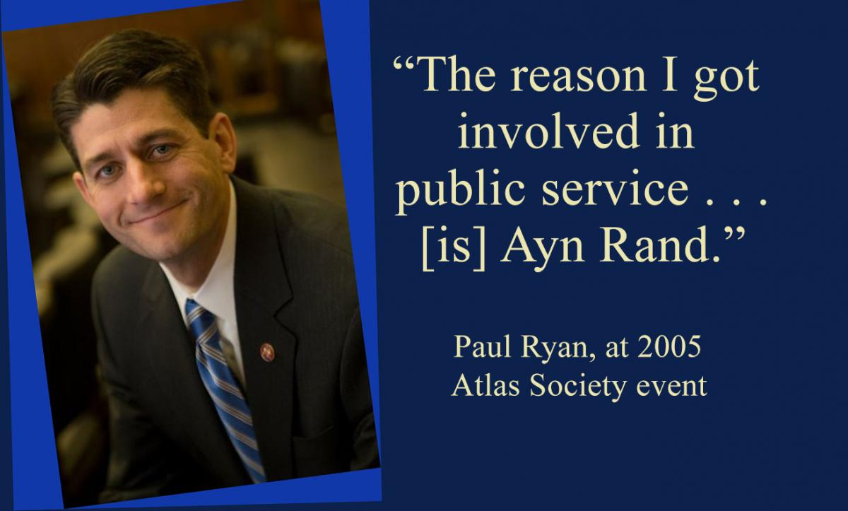 Paul Ryan Ayn Rand distancing himself Pope Catholicism objectivism