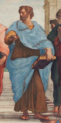 """Aristotle, as depicted by Raphael in """"The School of Athens"""" fresco"""
