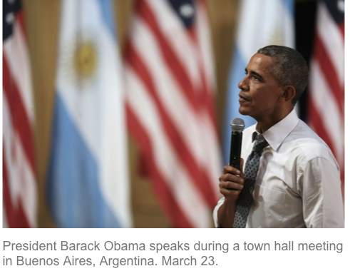 obama 3 town hall argentina israel conflict palestinians economic success