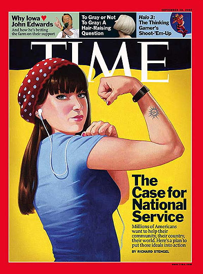 In 2009 TIME magazine's managing editor Richard Stengel wrote a cover story supporting national service. He later testified on Capitol Hill in support of related legislation.