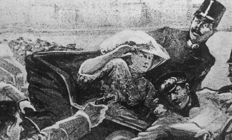 Gavrilo Pirincip fires on the Archduke and Archduchess, June 28, 1914