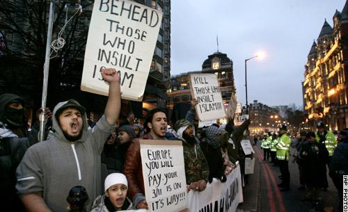 Mohammed Cartoon London protests islam europe jihad objectivism ayn rand atlas society