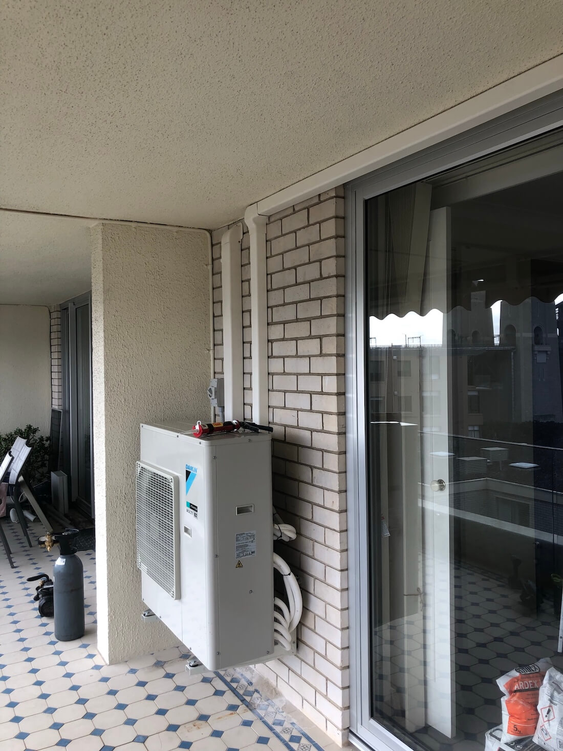 outdoor unit on balcony
