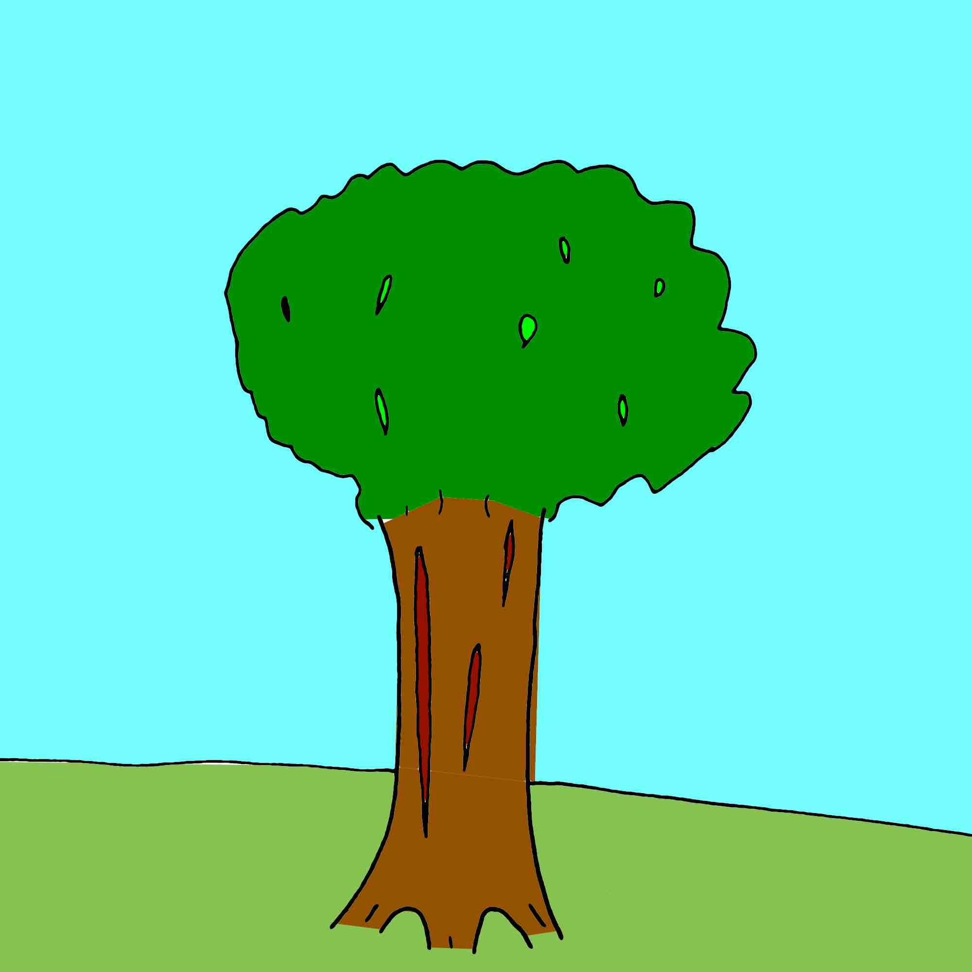 a cartoon of a tree that was planted 20 years ago