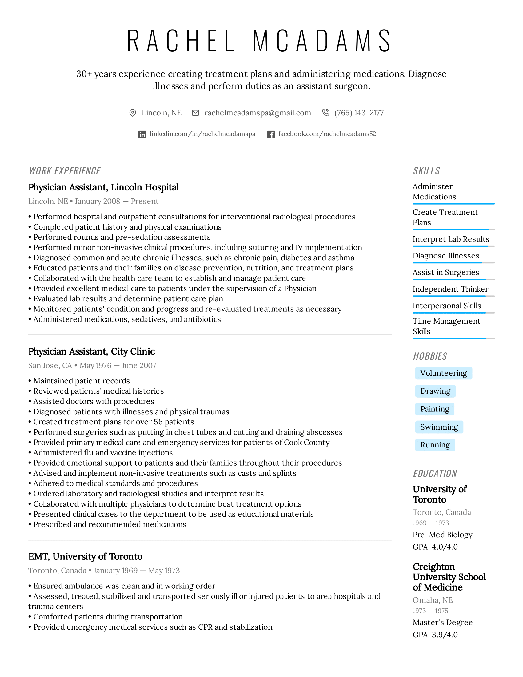 Physician Assistant Resume Example