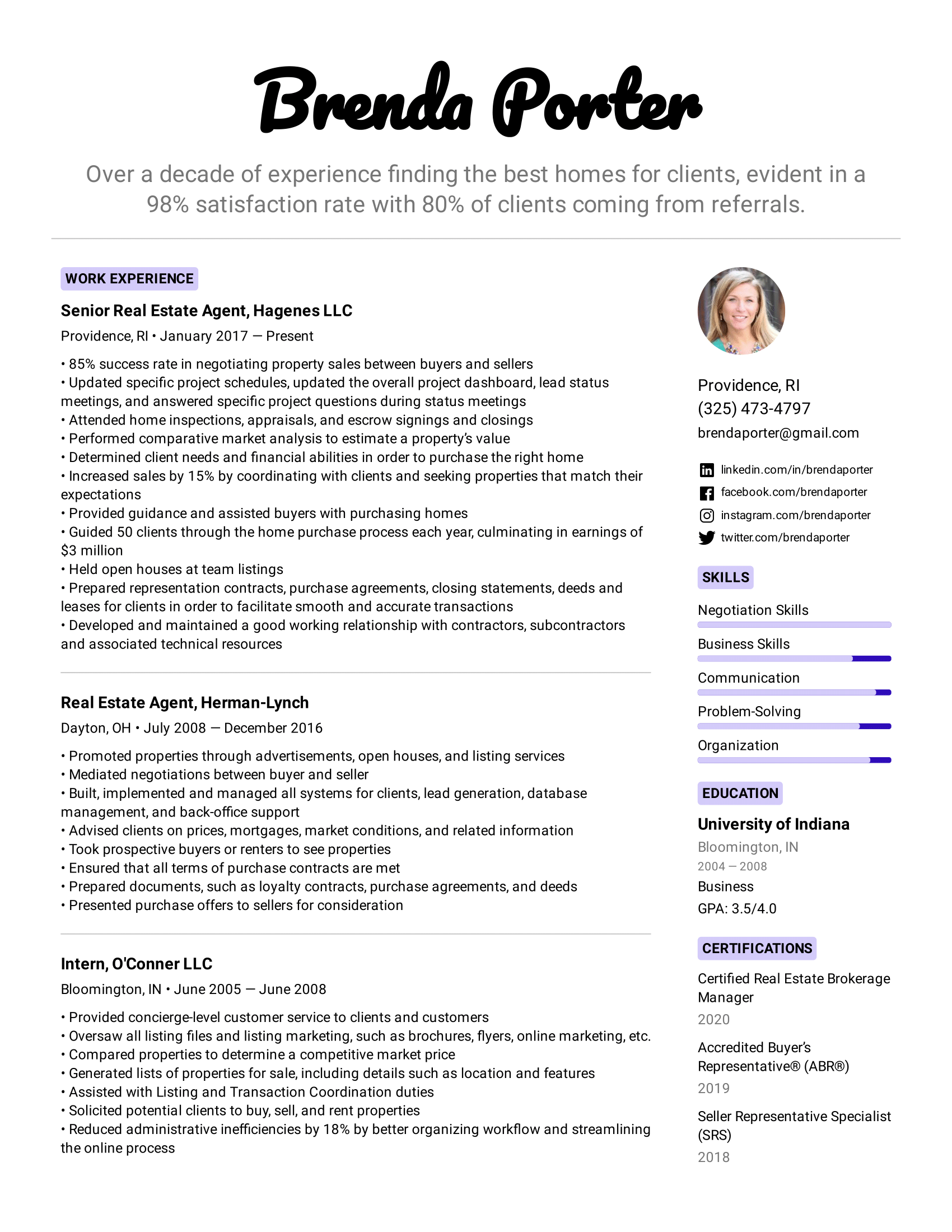 Real Estate Agent Resume Example