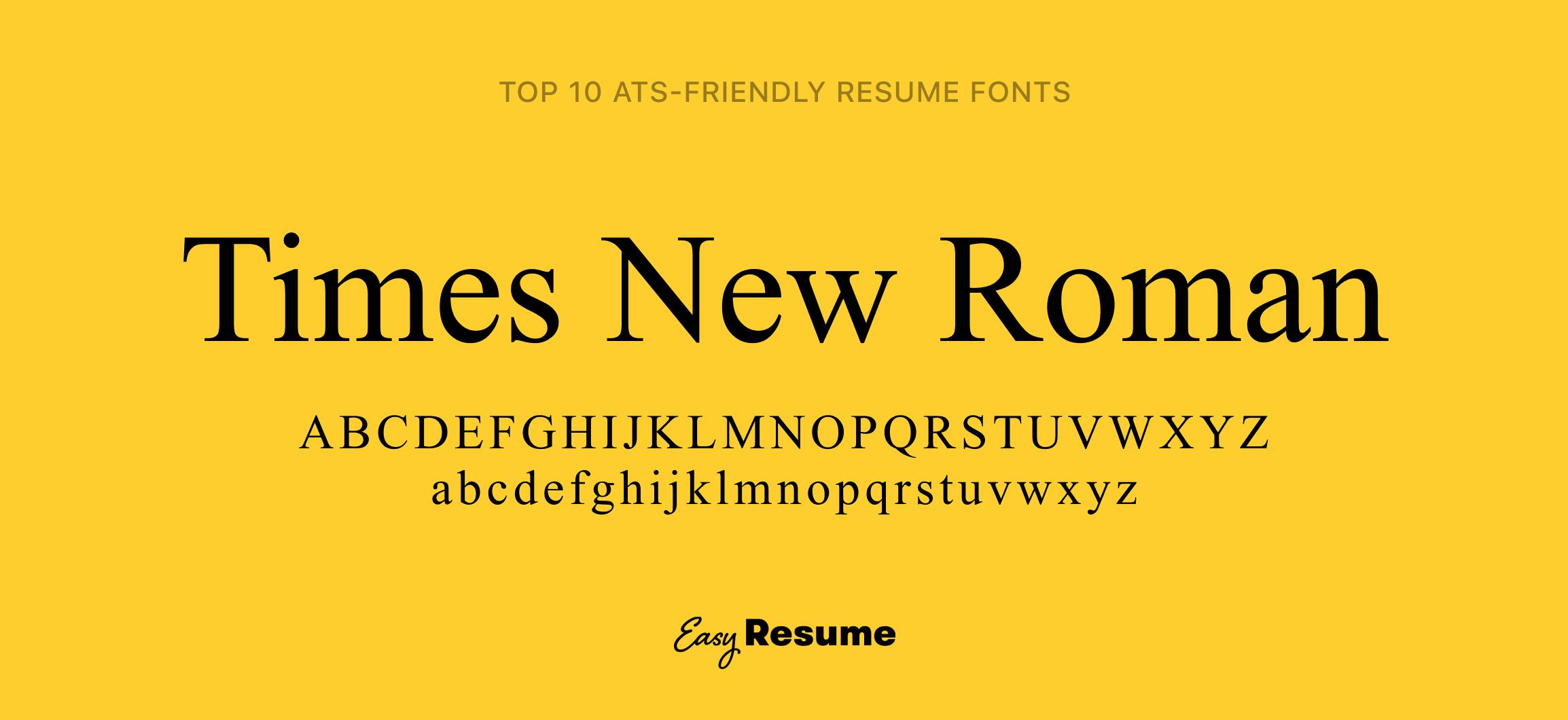 Times New Roman Resume Font
