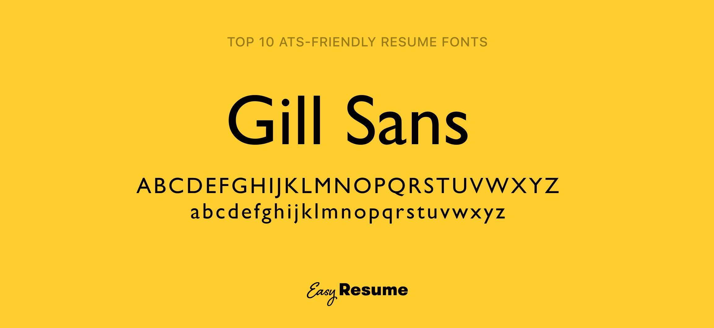 Gill Sans Resume Font