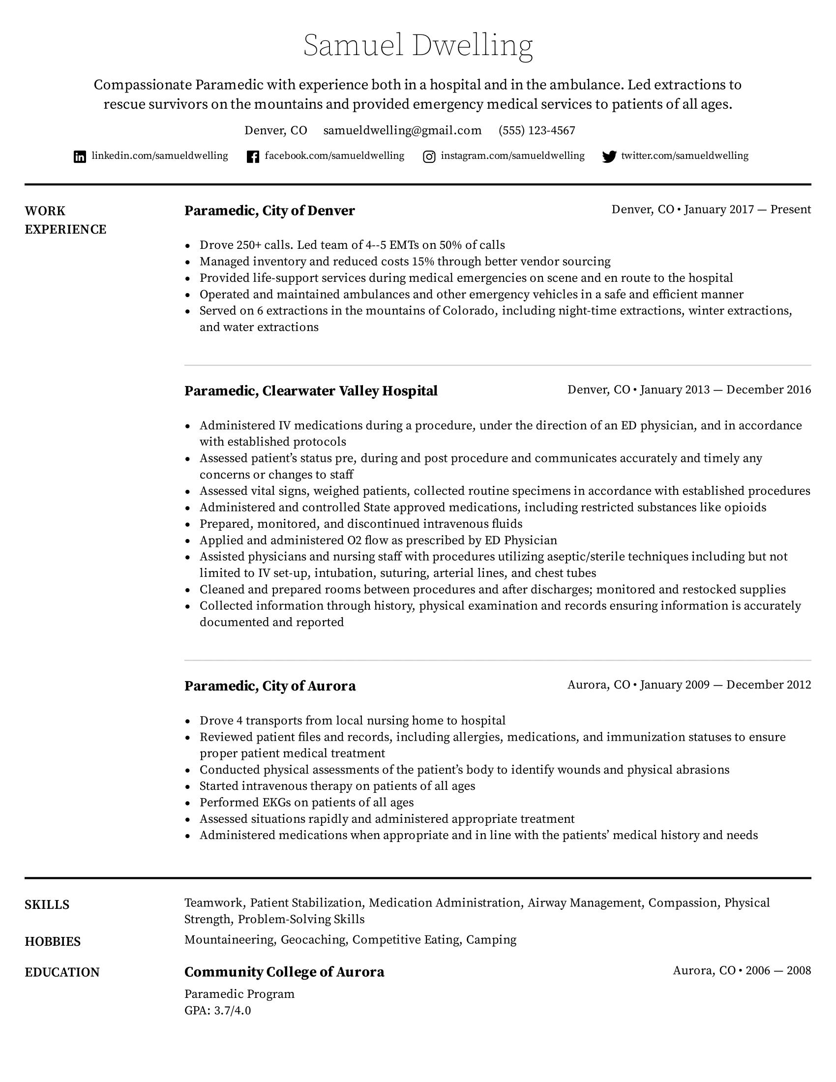 Paramedic Resume Example