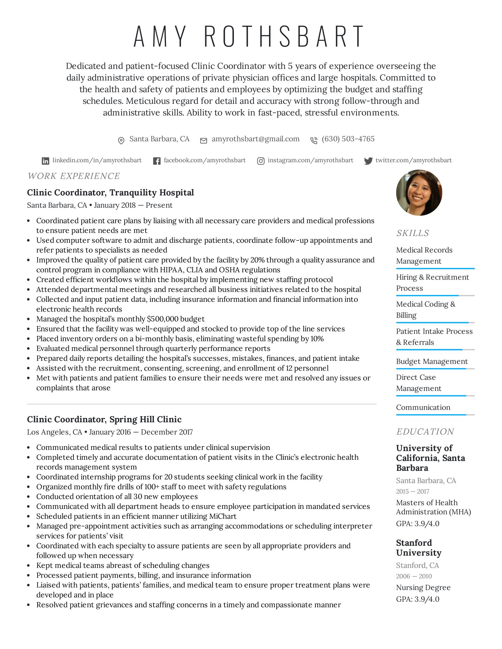 Clinic Coordinator Resume Example