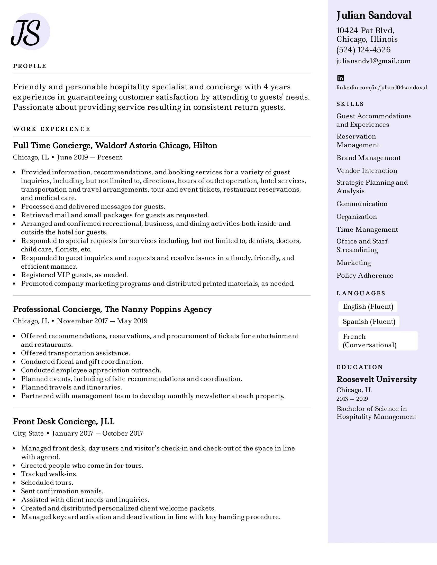 Concierge Resume Example