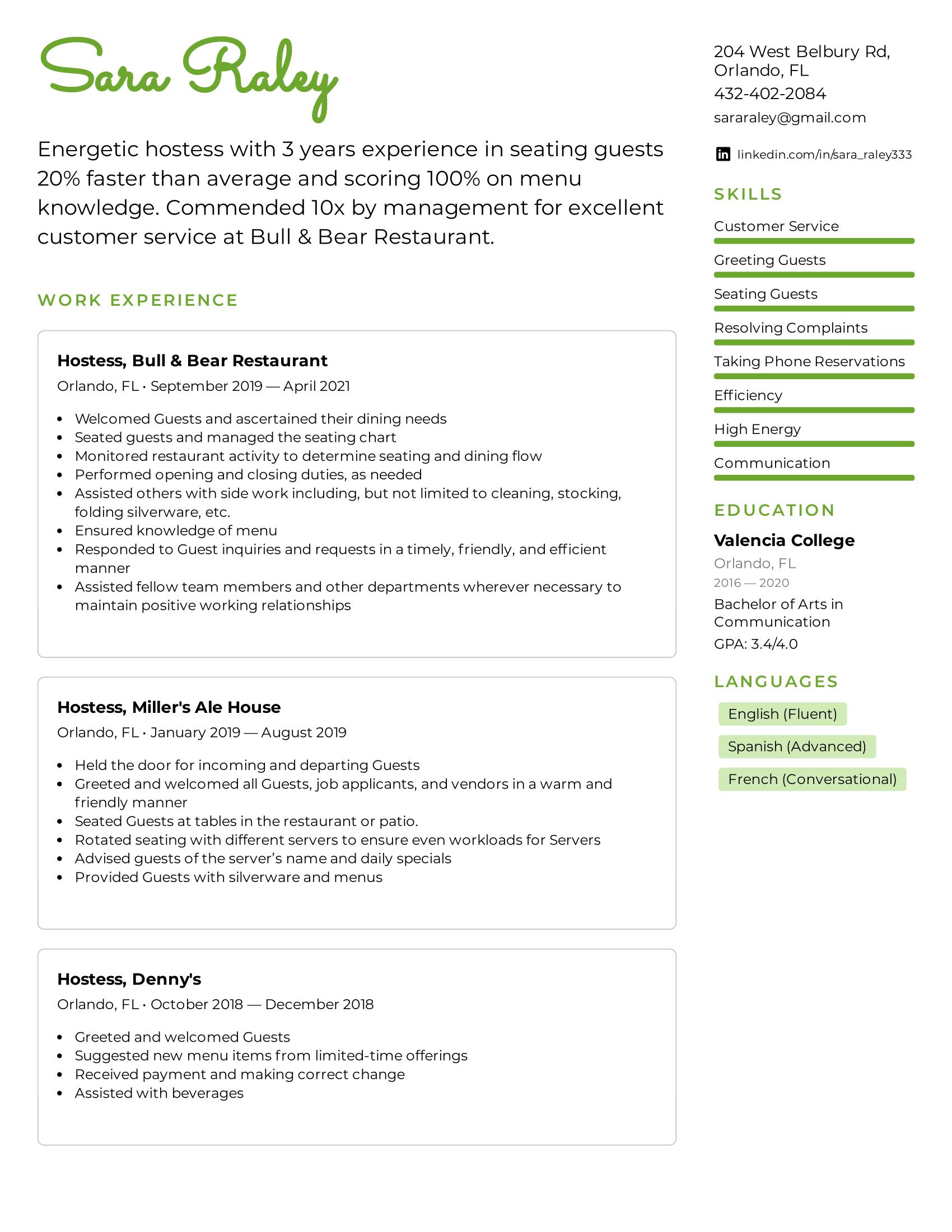 Hostess Resume Example