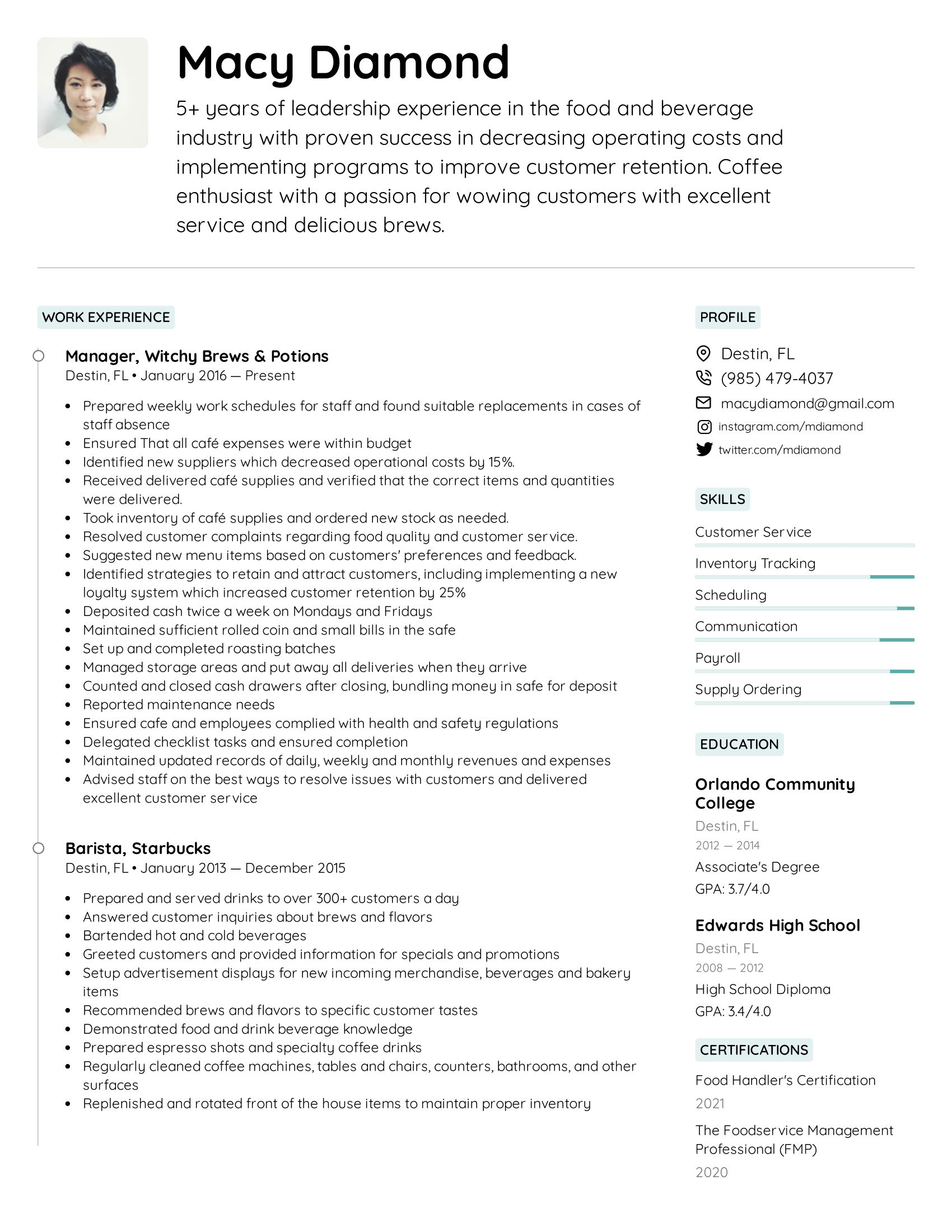 Coffee Shop Manager Resume Example
