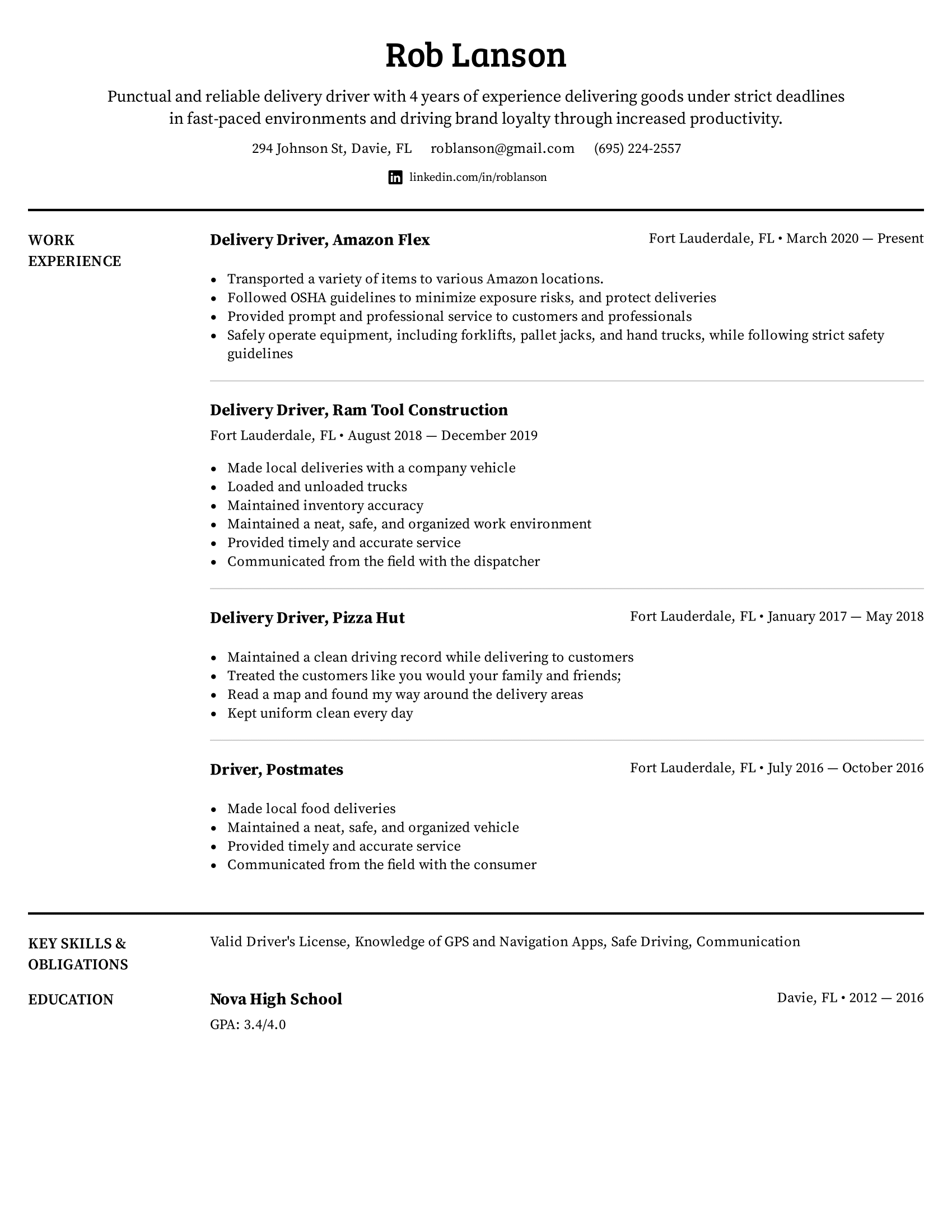 Delivery Driver Resume Example