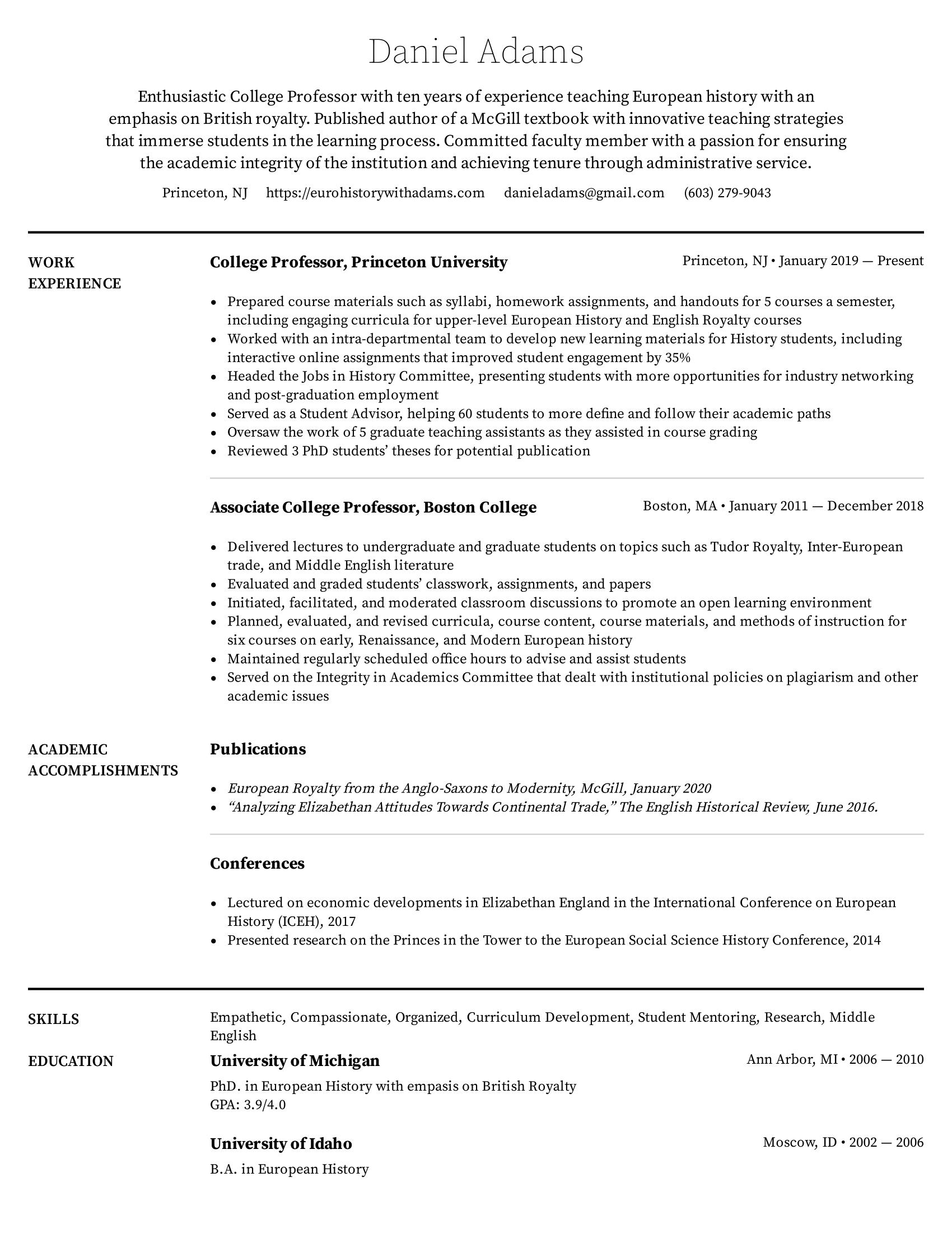 College Professor Resume Example