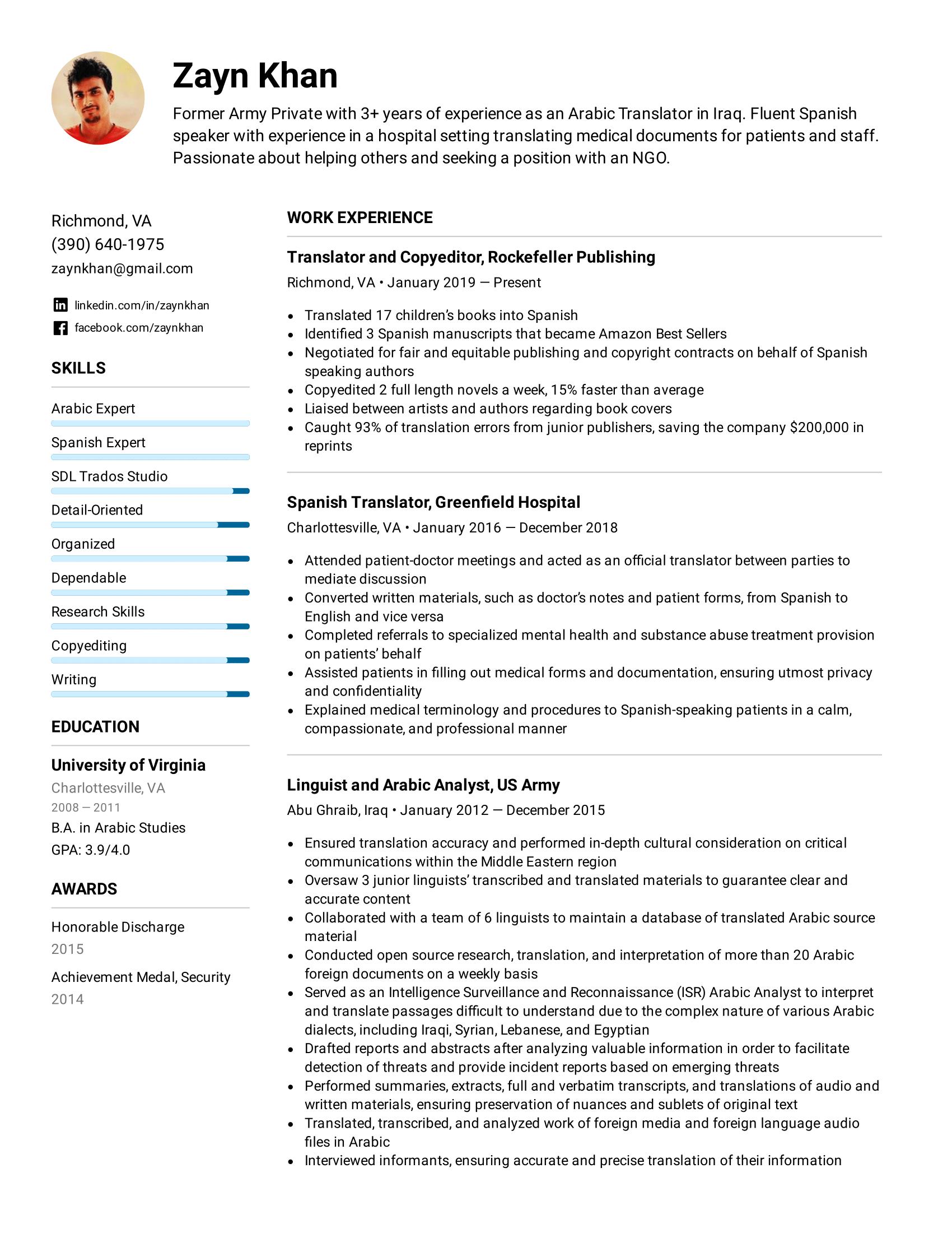 Translator Resume Example