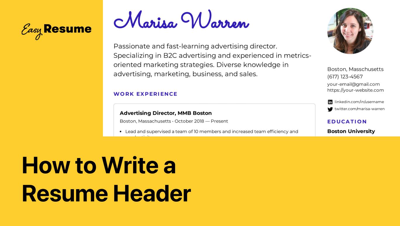 How to Write a Resume Header