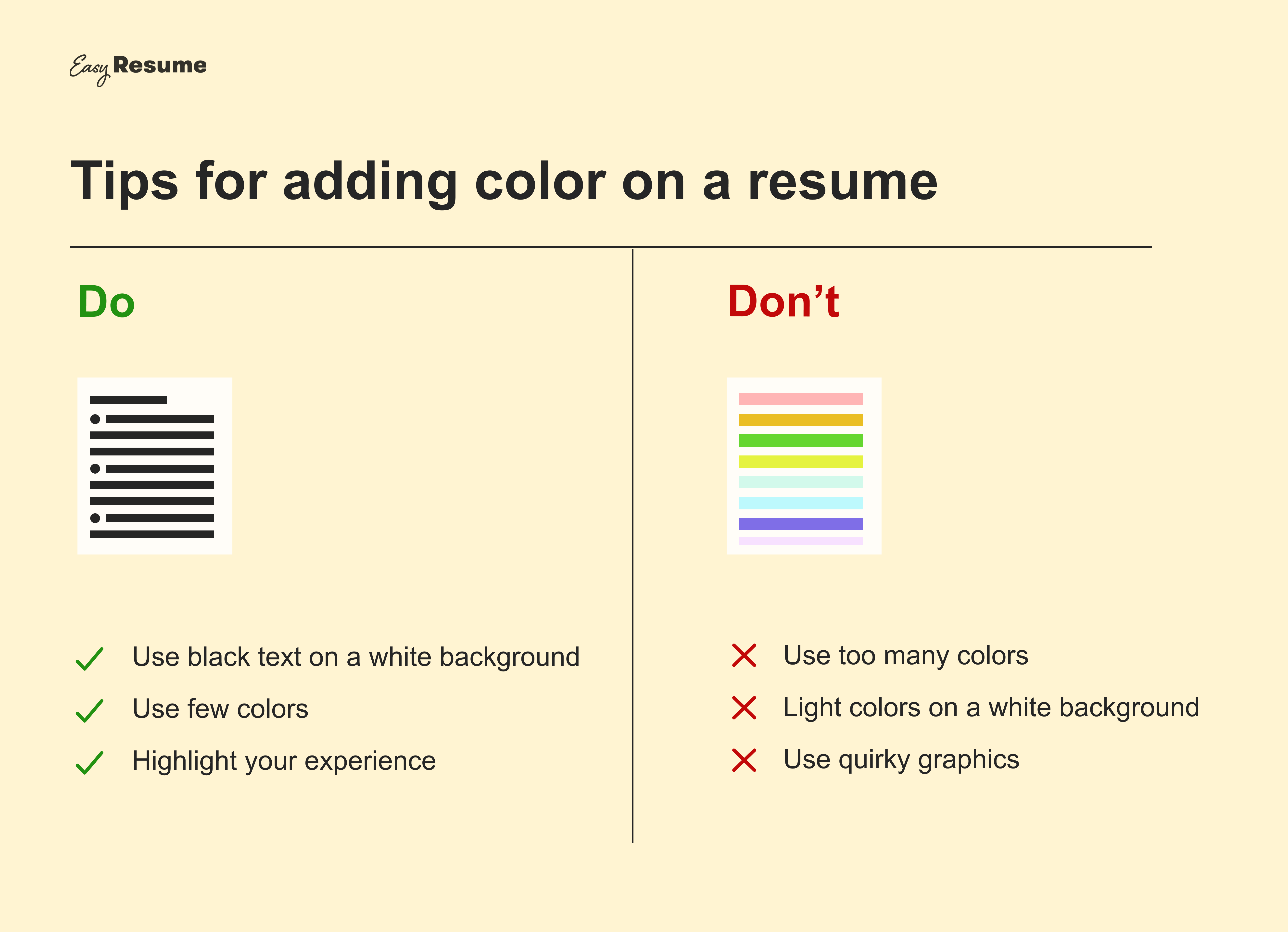 Tips for adding color on a resume